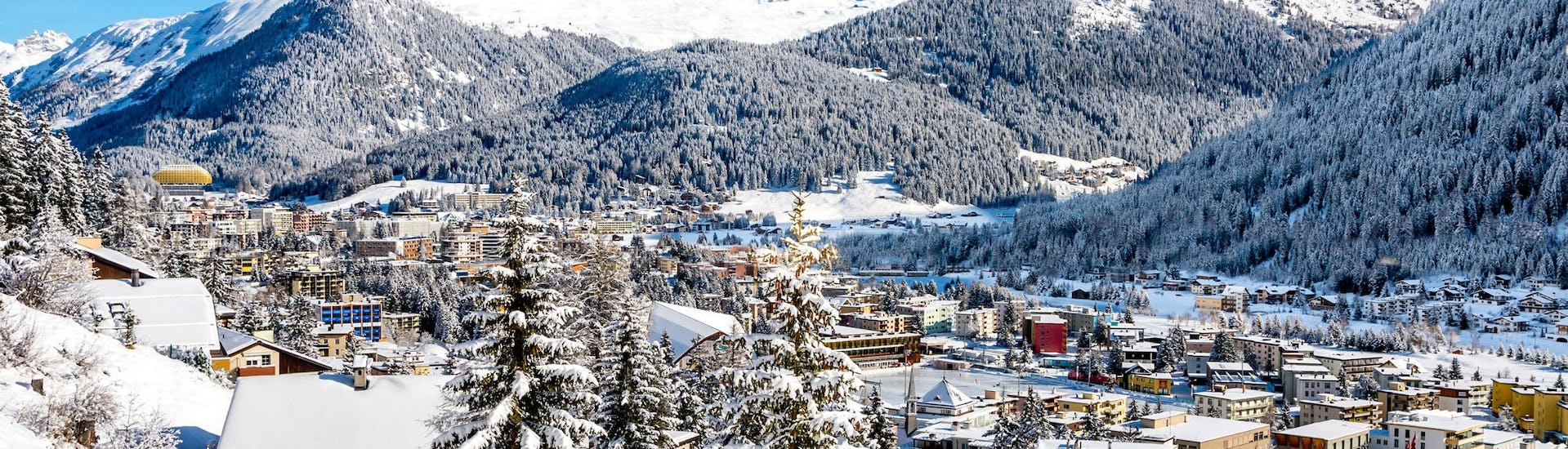 A view of the Swiss town of Davos, known not only for the World Economic Forum, but also for its ski schools that offer ski lessons to those who want to learn to ski.