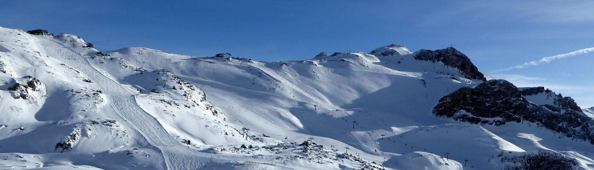 View of a snowy mountainscape in the ski resort of Ischgl with ski pistes offering perfect conditions for the local ski schools to offer their ski lessons.  (c)Skiresort.de