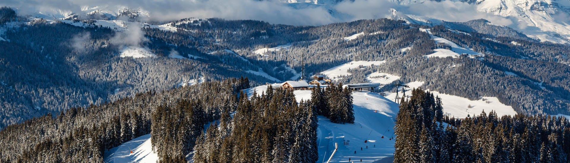 View of the slopes in the French ski resort of Megève where local ski schools offer a wide range of ski lessons to those who want to learn to ski.