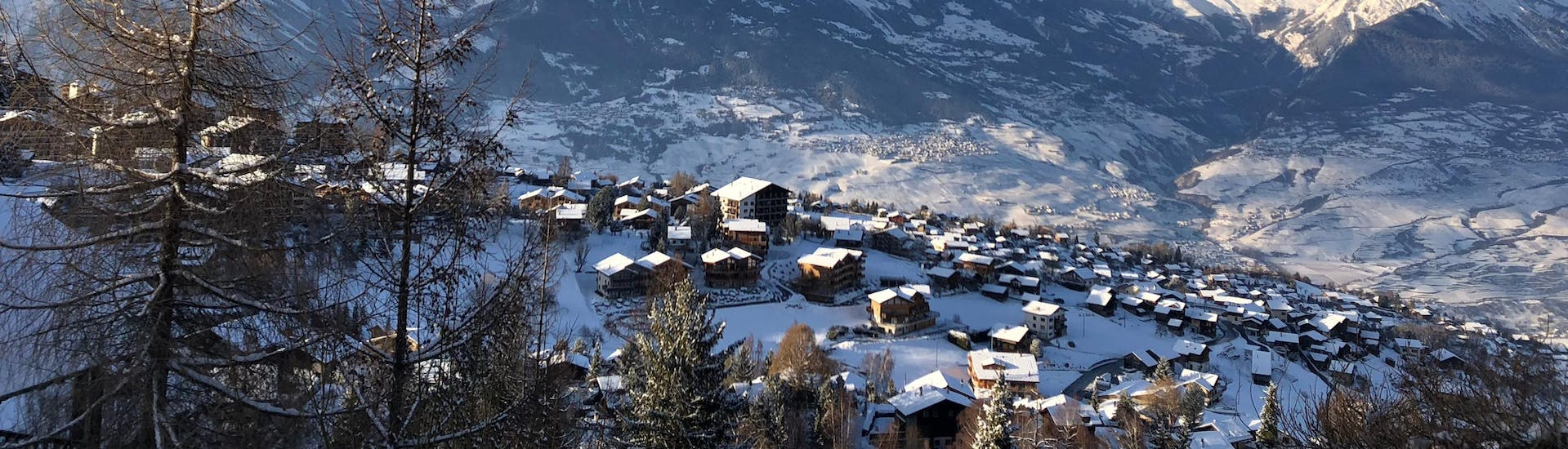 An aereal view of the ski resort of Nendaz-Siviez, a popular destination in the French-speaking part of Switzerland, where visitors can book ski lessons with one of the local ski schools.