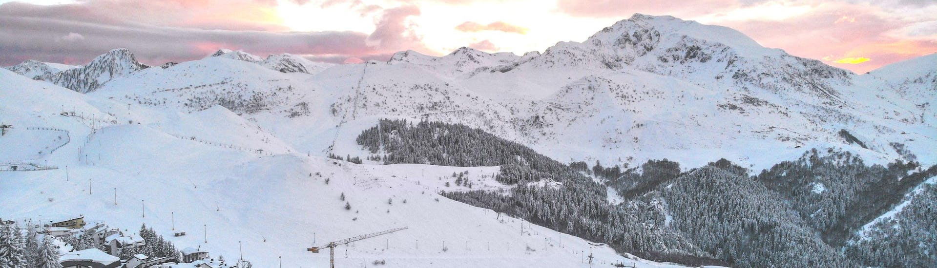 A view of the ski slopes in the Italian ski resort of Prato Nevoso which are used by the local sski schools to carry out their ski lessons.