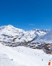 An areal view of Tignes, a French ski resort in the Espace Killy ski area, a popular place for taking ski lessons with one of the local ski schools.