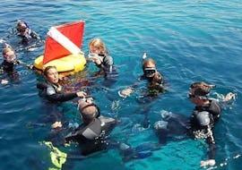 Un groupe se baigne lors d'une sortie snorkeling à l'île rousse avec EPIR Plongée.
