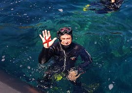 A snorkeler is showing a red starfisch he founded during the Snorkeling excursion in Saint-Raphaël bay with Dive Is Fun.
