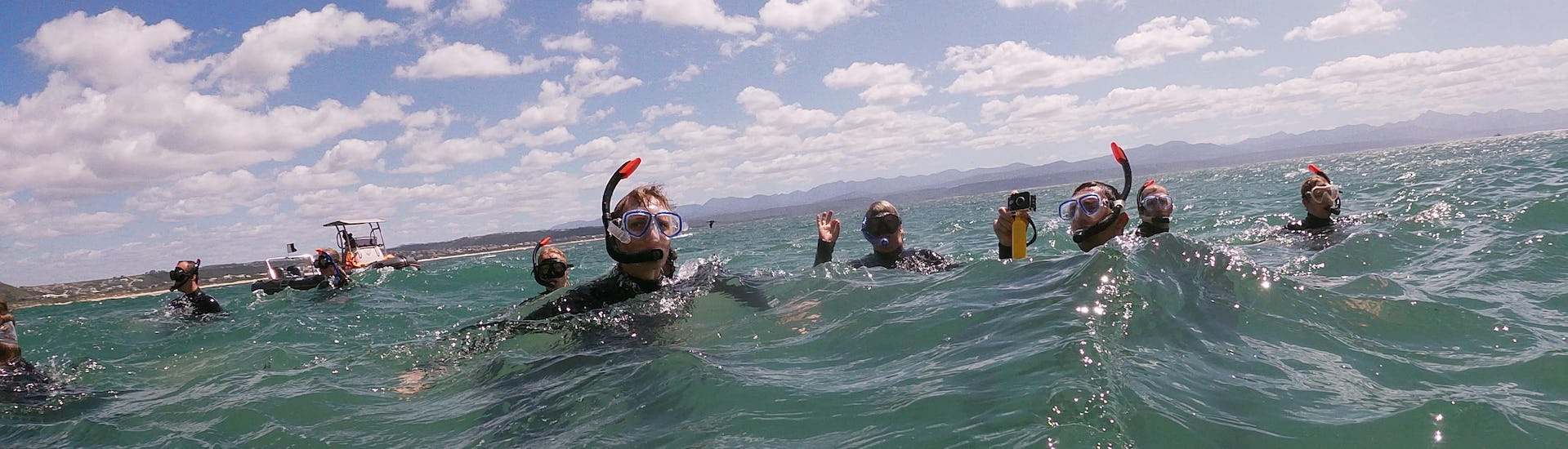 A group of snorkelling enthusiasts are snorkelling during the Snorkeling with Seals in Plettenberg Bay organised by Offshore Adventures.