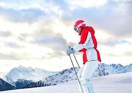Private Ski Lessons for Adults - All Levels of the Scuola Italiana Sci Azzurra Folgarida take place while the ski instructor demonstrates the exercise.