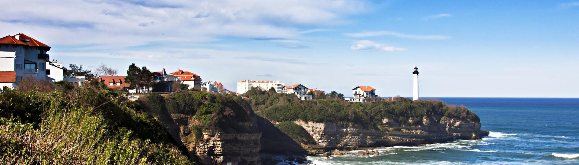 View of one of the many beaches of Anglet in the French Basque Country where surf enthusiasts can take surfing lessons.