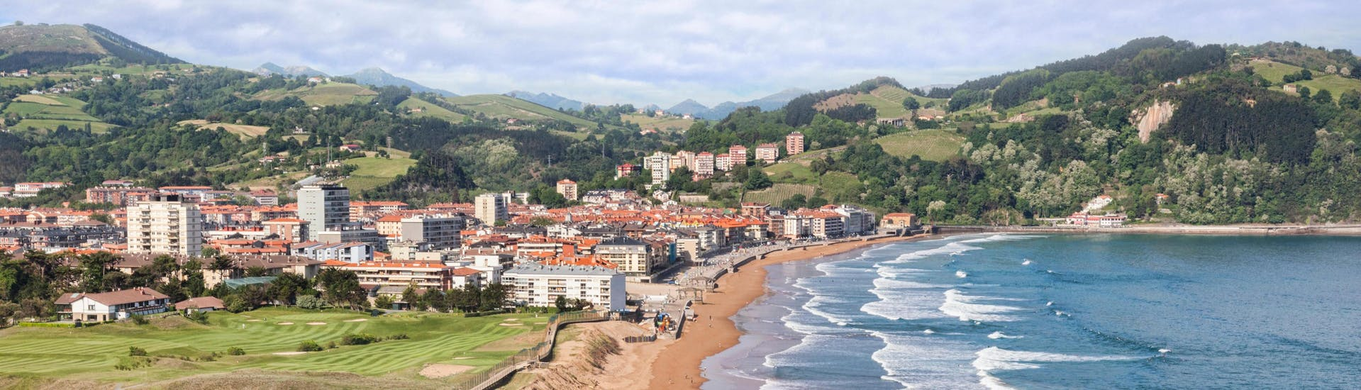 An aerial view of the beach in Zarautz, a popular place to go surfing in the Basque Country in Spain.