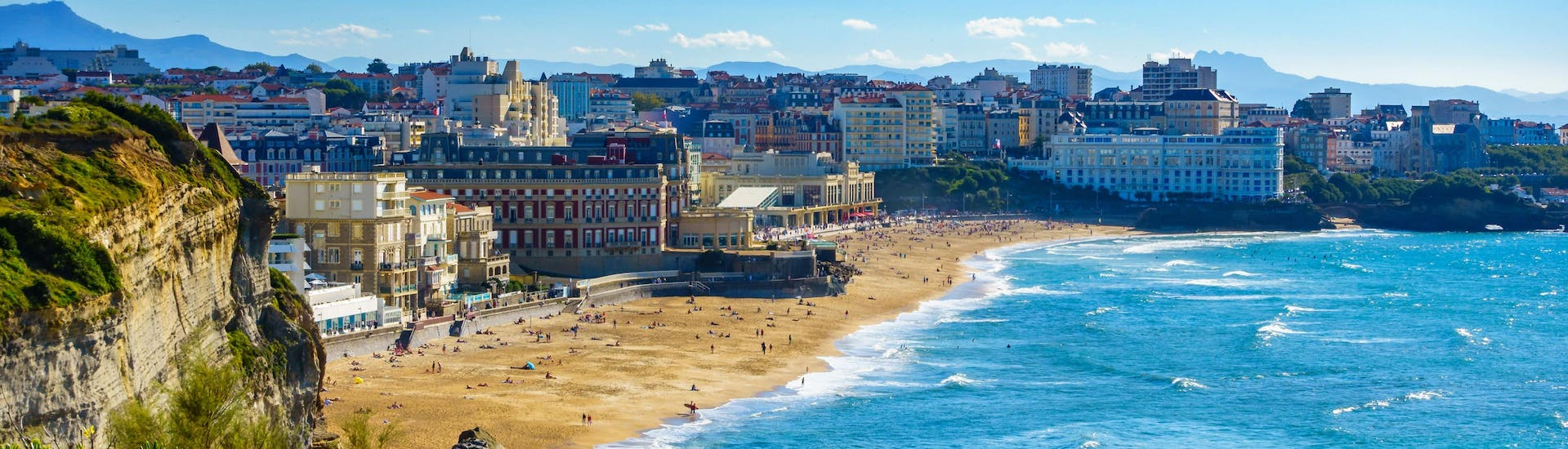 View of the bay of Biarritz and the Grand Plage, one of the surfing hotspots in the French Basque Country.
