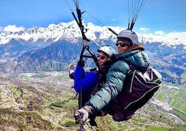 A tourist is doing a Tandem Paragliding Flight over Chamonix - Discovery with Air Sports Chamonix.