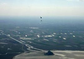 "An amazing landscape from the activity Tandem Paragliding ""Mont Saint-Michel"" - Normandie with Parapente Mania."