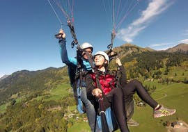 A Pegase Air pilot makes a panoramic tandem paragliding flight over the Samoens valley.