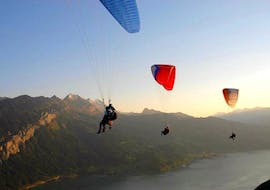 """During Tandem Paragliding """"The Classic"""" in Interlaken, three paragliders of Twin Paragliding are flying into the sunset over Lake Thun."""