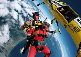 Freefall with a tandem master during Tandem Skydive in Taupo - 9,000 ft organized by Taupo Tandem Skydiving