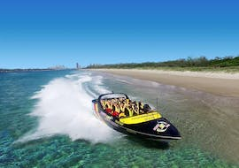 Happy participants of the Tour in a Jet Boat on the Gold Coast - Broadwater Adventure organized by Paradise Jet Boating Gold Coast.