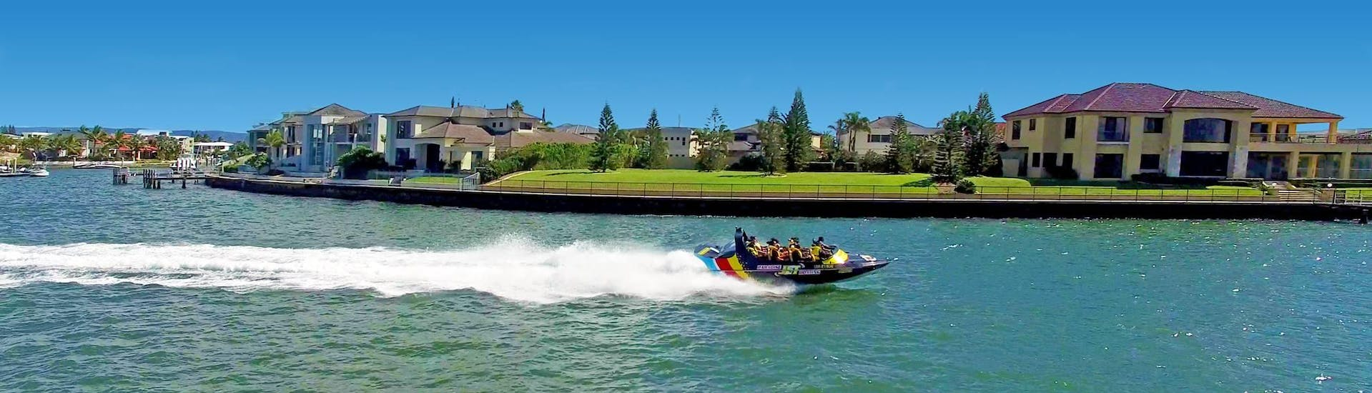Happy participants of the Tour in a Jet Boat on the Gold Coast - Broadwater Adventure organized by Paradise Jet Boating Gold Coast