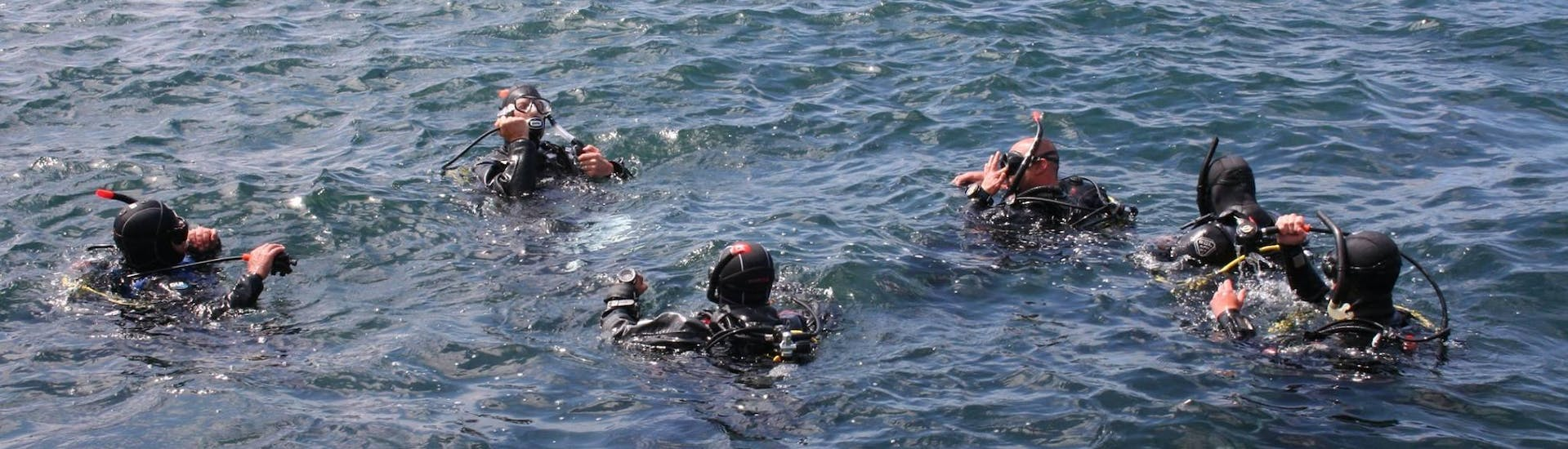 The participants of the Trial Scuba Diving for Beginners in Saint Paul's Bay with Octopus Garden Diving Centre in Malta are getting ready for their first dive.
