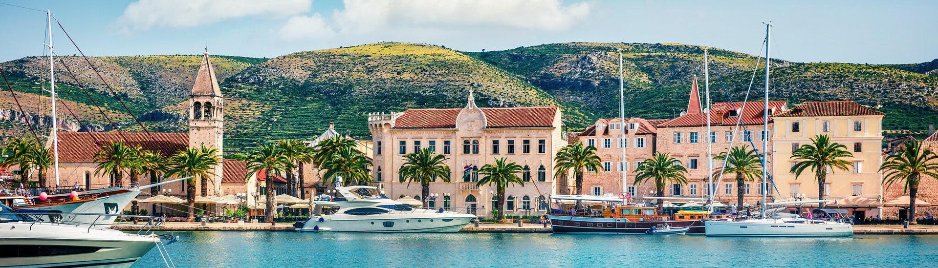 View of the port of Trogir, which is a popular starting point for boat trips in Dalmatia.