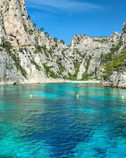 A wonderful view of the Calanques National Park, a sight that can be enjoyed by many who partake in water sports in Marseille.