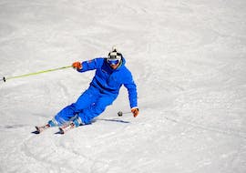 A skier is training during the Private Off-Piste Skiing in Verbier with Altitude Ski School Verbier & Gstaad.