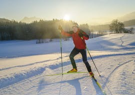 A man is doing Private Cross Country Skiing Lessons with Element3 Ski School Kitzbühel.