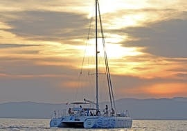 The catamaran on the calm waters during Sunset Catamaran Tour in the Bay of Palma with Tapas with Oasis Catamaran.