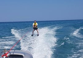 A man is enjoying his Waterskiing Lesson in Agia Marina with Cactus Water Sports Center.