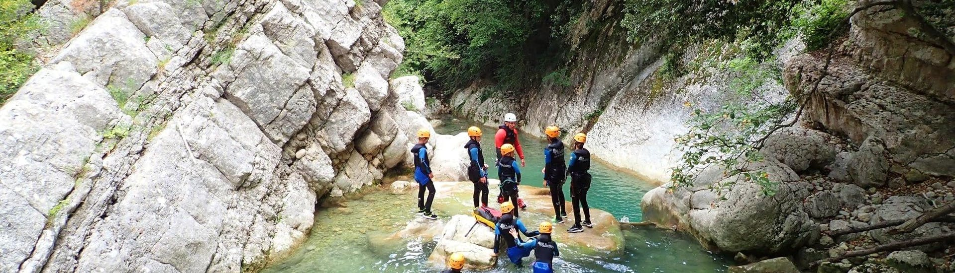 A group of children is having fun in the river during their Canyoning in the Gours du Ray Canyon - Aquatic tour with FunTrip.