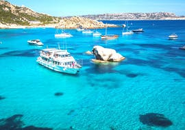 Our boat on the crystal clear water of Sardinia during the boat trip to La maddalena incl. Budelli Island in Low season with Maggior Leggero Tour.