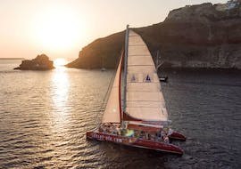 Catamaran Tour in Santorini to the Red Beach at Sunset with Sunset Oia