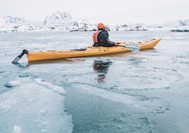 """Exploring the frozen nordic sea during Sea Kayak Tour """"Winter"""" in Lofoten with the knowledgeable crew from Northern Explorer."""