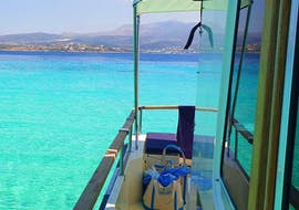 Our beautiful boat glidding on the even more beautiful waters during the Island Hopping Tour from Paros with G3 Boats.