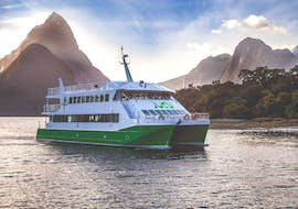 """A catamaran is heading to beautiful waterfalls and rainforest during the Milford Sound Cruise """"Classic"""" - Winter organised by Jucy Cruise."""