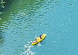 Two people on a canoe with a 36km Canoe Hire in Ardèche - 2 days with Bivouac with Viking Bateaux.
