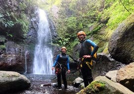Group of friends canyoning in Ribeira do Lajeado with Madeira Adventure Kingdom.