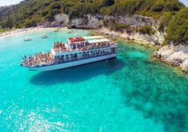 View of the boat during the boat trip to Paxos & Antipaxos with Blue Caves from Lefkimmi with Ionian Cruises.