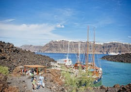People during the boat trip to the volcano and Thirasia Island with Caldera's Boats Santorini.