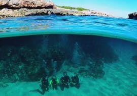 A group of divers is doing an open water dive as a part of their PADI Open Water Diver Course in Portocolom for Beginners with East Coast Divers Mallorca.