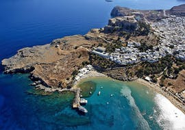 View of Lindos village during the Cruise to Lindos with Swimming Stop in Anthony Quinn's Bay with Manos Going Rhodes.