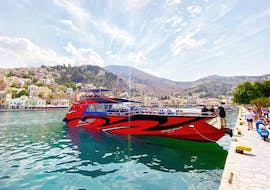 The speedy motorboat from Rhodes Sea Lines, ready for the transfer to Symi with swimming stop.