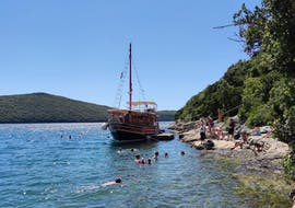 During the Boat Trip to Rovinj & Lim Fjord with Swimming & Fish Picnic organized by Kristofor Boat Excursions Poreč, the boat is stopping at the Pirate Cave in Lim Fjord.