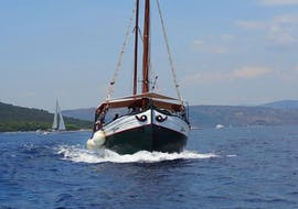 During a boat trip from Trogir, Okrug and Medena to Blue Lagoon with Max Nautica Split the ship is heading towards the Blue Lagoon.