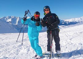 A person is doing Private Ski Lessons for Adults of All Levels with ESI St Christophe Les Deux Alpes.
