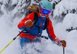 A young woman is having fun during the Private Ski Lessons for Adults - All Levels with her qualified ski instructor from ski school WIWA   DSV Skischule & Skiverleih.