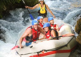 People having fun while they are Rafting on the Cetina River and do Cliff Jumping with Rafting Pirate.